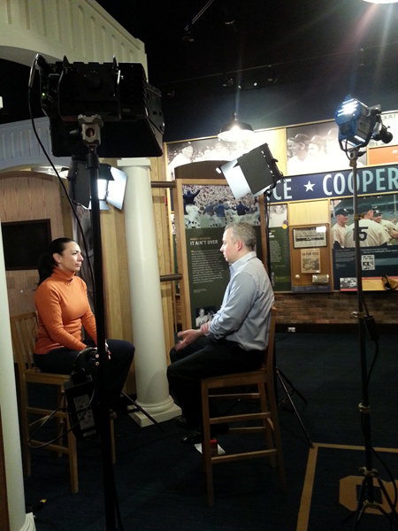 Producer/Director/Editor Andrew Lilley being interviewed by CBS News Correspondent Michelle Miller for CBS This Morning (Broadcast 2/6/2014)