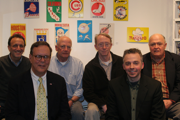 At Bergino's in Manhattan where the trailer for 'I'll Knock a Homer for You' is debuted. (from left: Jay Goldberg, Charlie Poekel, John Sylvester Jr., Ted Keenan, Andrew Lilley, and Philip Lilley)