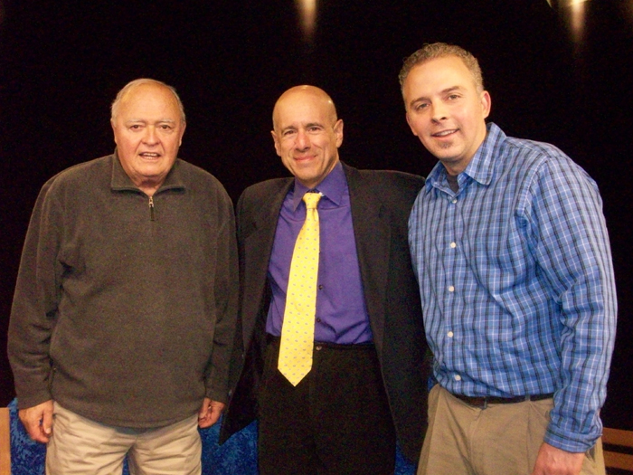 On the set of 'Beyond the Game'. Left to Right - Phil Lilley, John Vorperian (Host), Andrew Lilley (Filmmaker)